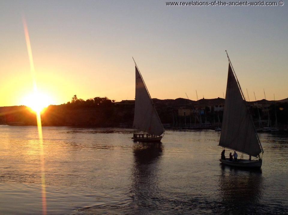 Aswan Feluccas sunset
